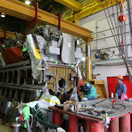 All cylinders were removed from the engine during disassembly in preparation to move the engine from its pedestal.  D&Z performed rigging and support work.